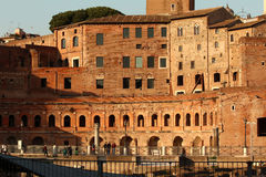Close up of Trajan's Market. Close up of what is left from the Trajan's Market. Well preserved orange brick structure situated in the Via dei Fori Imperiali Royalty Free Stock Photography