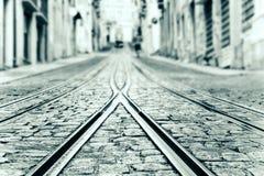 Close up of tram rails . shallow focus . Close up of tram rails . shallow focus royalty free stock photos