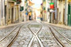 Close up of tram rails . shallow focus . Close up of tram rails . shallow focus royalty free stock photo