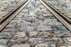 Close up of tram rails . shallow focus . Close up of tram rails . shallow focus royalty free stock photography