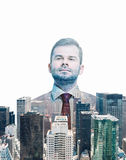 Close up of the transparent businessman and New York panoramic view. Stock Photography