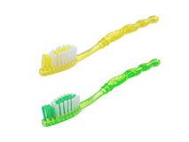 Close up transparent toothbrushes Stock Photo