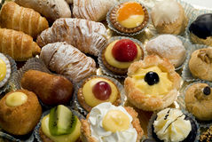 Close up of tray of mixed patisserie Royalty Free Stock Photography