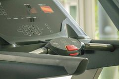 Close up the treadmill in gym room.Fitness Room with jogging treadmill and exercise machine. Exercise class stock images