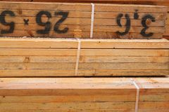 Close Up of Treated Timber Bundles Stock Photos