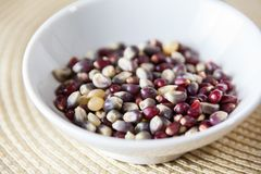 Close Up Of Tri Color Popcorn Kernels In A White Bowl With Selec Stock Image