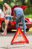 Close up on triangle warning sign Royalty Free Stock Image