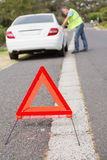 Close up on triangle warning sign Royalty Free Stock Images