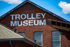 Close Up of Trolley Museum Sign Stock Image