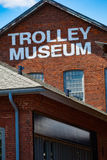 Close Up of Trolley Museum Wall Sign Royalty Free Stock Images