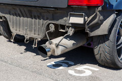 Close up of truck exhaust pipe Royalty Free Stock Image