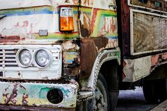 Old truck with rusty. Close up of truck rusty, damaged, and flat tires stock photos