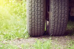 Truck tire close-up. Abstract background. stock photo