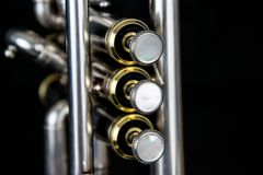 Close up of the trumpet silverplated stock photos
