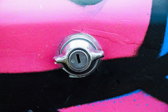 Close up trunk lock of pink colorful car Royalty Free Stock Photography