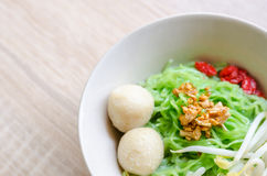 Close up TThai Noodle with meat ball and crispy pork skin Stock Photo