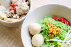 Close up TThai Noodle with meat ball and crispy pork skin Royalty Free Stock Images