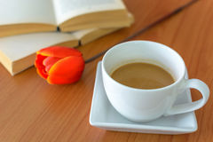 Close up tulip with book and coffee Royalty Free Stock Image
