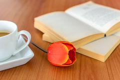 Close up of tulip with book and coffee Stock Photography