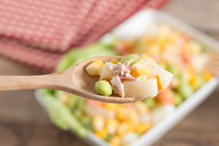 Close up, Tuna corn salad. Royalty Free Stock Image