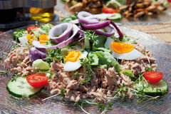 Close up of tuna salad on glass plate Stock Images