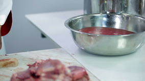 Close up of turkey meat cleaned in water stock footage