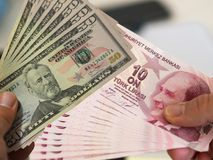Turkish banknotes and us banknotes on hand Royalty Free Stock Photo