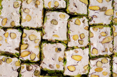 Close-up of Turkish pistachio locum. Confectionery background royalty free stock photos