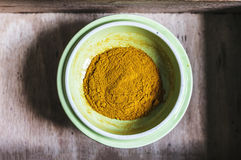 Close-up of turmeric powder on plate Royalty Free Stock Photo
