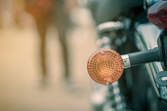 Turn signal motorcycle. Close up Turn signal motorcycle classic Stock Photo