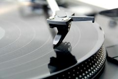 Close up of a turntable. Close up of record on a turntable Royalty Free Stock Images