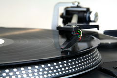 Close up of a turntable. Stopped stock photo