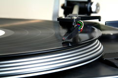 Close up of a turntable. Spinning stock image