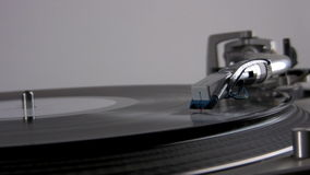 Close up of turntable. Needle being put on a record stock video