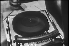 Close-up of turntable spinning without record stock footage