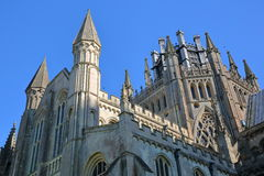 Close-up on turrets, spires and the Octagon of the Cathedral of Ely in Cambridgeshire, Norfolk, UK. Close-up on turrets, spires and the Octagon of the Cathedral Stock Photography