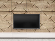 Close up of TV set on wood wall. Close up of TV set on wooden wall hanging above bench in office. Concept of waiting room interior in luxury establishment. 3d Stock Photos