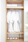 Close up of twins bathrobe in wardrobe Stock Image