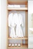 Close up of twins bathrobe in wardrobe Stock Image
