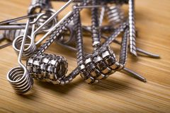 Close up twisted coils for e cig or electronic cigarette for vap Stock Photography