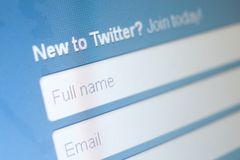 Close up of twitter sign up Stock Photos