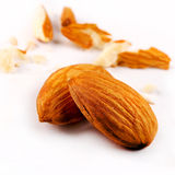 Close Up of Two Almonds Royalty Free Stock Photos