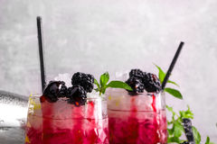 Close-up of two berry drinks with mint on a gray blurred background. Beverages with sour lemon, fresh mint, and sweet Stock Photo