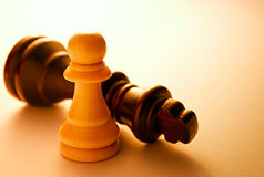 Close up Two Black and White Chess Pieces Stock Image