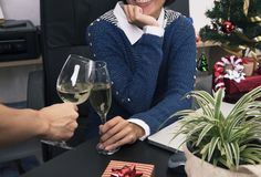 Two business worker  cheering champagne  in the office Party Christmas. Close-up Two business worker  cheering champagne  in the office Party Christmas Stock Photos
