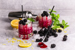 Close-up of two cold berry drinks. Beverages with mint leaves, cut lemon and blackberries on a frozen gray background. Stock Images