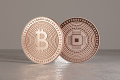 Close up of two copper bitcoins with focus on foreground as example for financial technology and online banking.  royalty free illustration