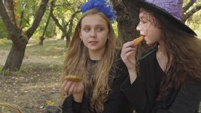 Close-up of two cute caucasian girls in Halloween costumes eating cookies in the autumn forest and chatting. Close-up of two cute caucasian girls in Halloween stock video footage