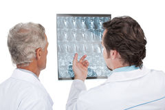 Close up of two doctors discussing diagnose of the patient. Stock Image