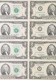 Close up of two-dollar bills. Royalty Free Stock Photos